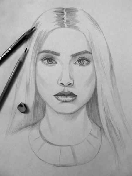 Как нарисовать Портрет девушки карандашом поэтапно