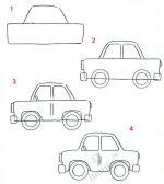 Рисование машины поэтапно для детей – Легковая машина — начальные уроки рисования для детей / Уроки рисования карандашом для детей, учимся рисовать поэтапно, детские рисунки / Лунтики. Развиваем детей. Творчество и игрушки