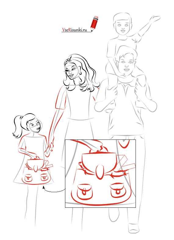 Конца, рисунок на день матери поэтапно