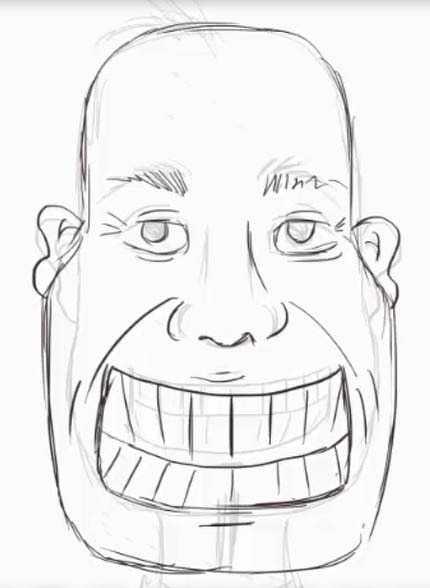 Лет вместе, смешной рисунок лица карандашом