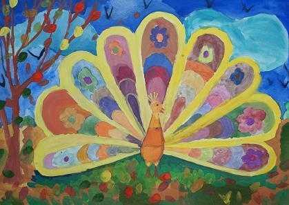 Как нарисовать жар-птицу красками