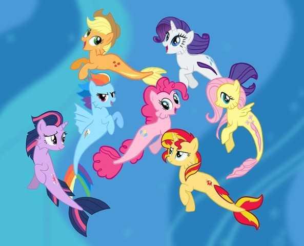 картинки май литл пони русалки раскраски My Little Pony