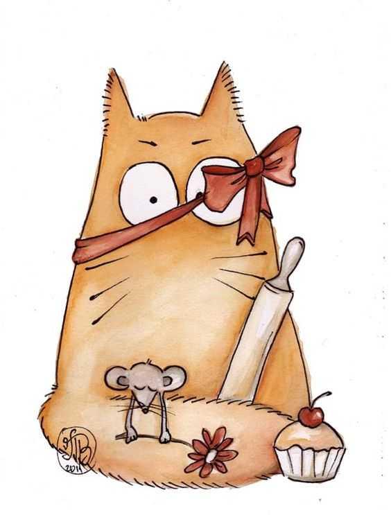 Картинки смешных котят для срисовки, для бабушки дедушкой