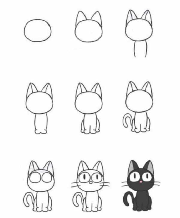 Как нарисовать котёнка карандашом поэтапно для начинающих