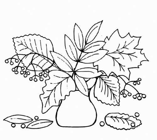 Осенние листья в вазе раскраска – Раскраска осенние листья ...