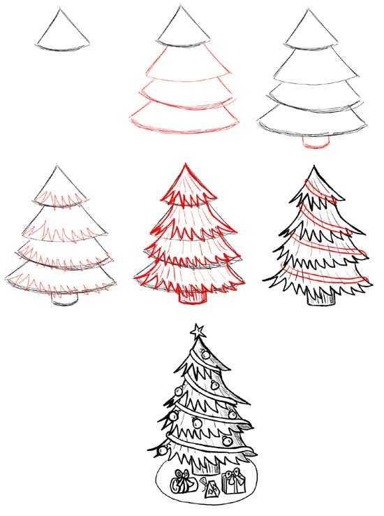 Днем, нарисовать новогоднюю открытку поэтапно ребенку