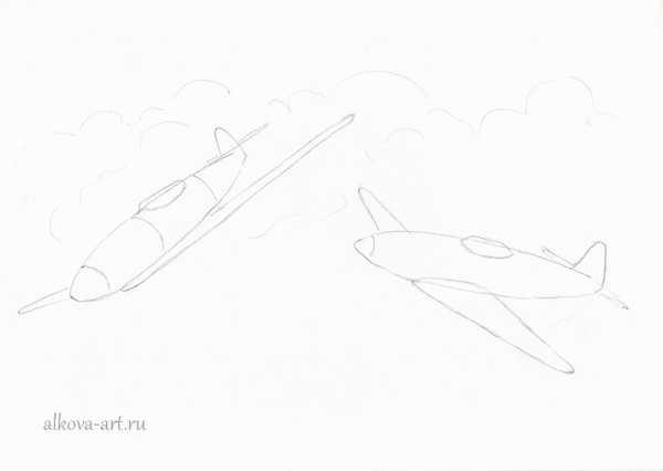 Самолеты рисунки военные – » » 24 - Уроки рисования для ...
